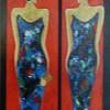 Twee Gezusters II - 2006 * Acryl op doek paneel - 40x25