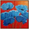 2-Luik blauwe klaprozen - 2006 * Acryl op doek - 80x80