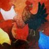 4 Kippen met Haan - 2010 * Acryl op doek - 50x60