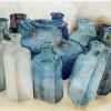 Blauwe Flessen - 2004 * Aquarel op papier - 30x50