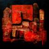 Abstract Rood I - 2009 * Gemengde Techniek op doek - 85x85