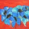 Blauwe Bloemen - 2007 * Gemengde Techniek op doek- 70x100