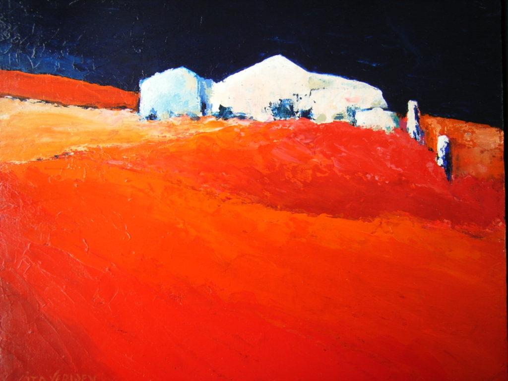 Rood landschap met huis - Italie