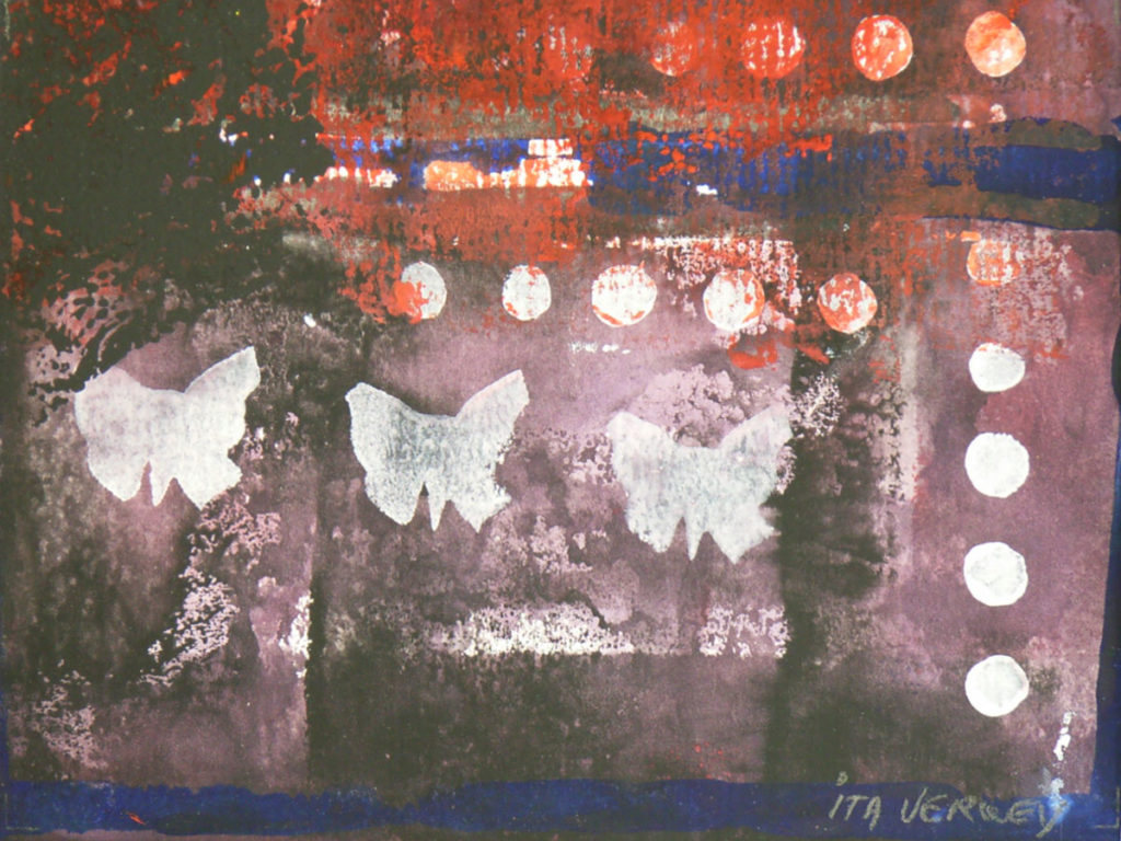 Vlinders - 2007 * Blockprint op papier - 25x15