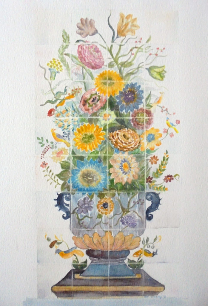 Bloemen in vaas - Aquarel