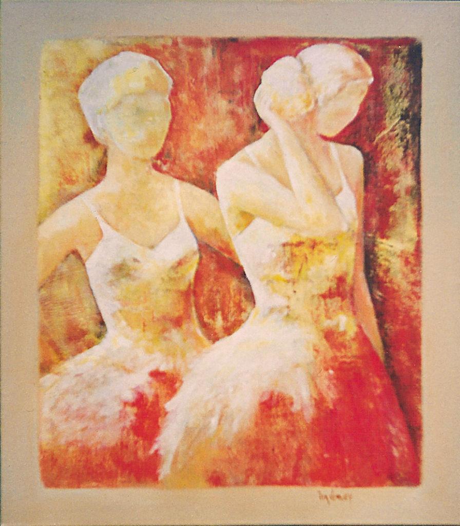 2 Danseressen - Acryl op doek
