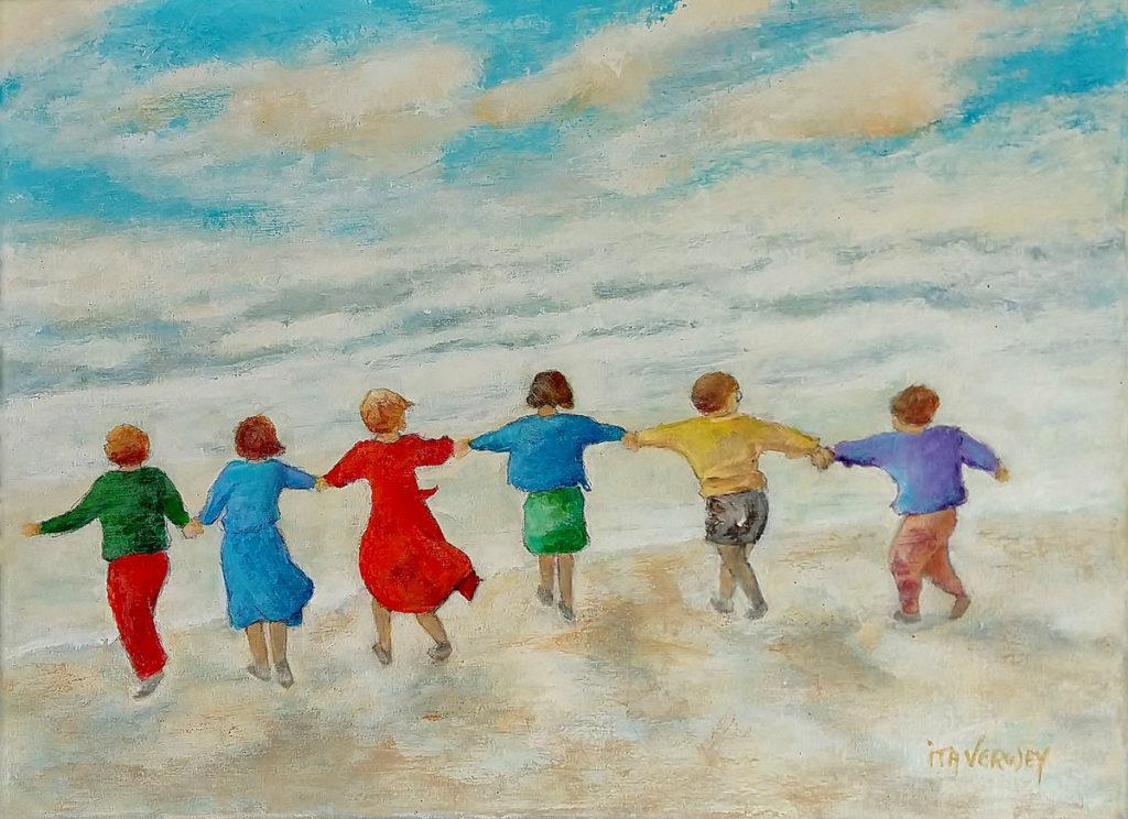 Ita Verwey - Zes kindjes aan strand
