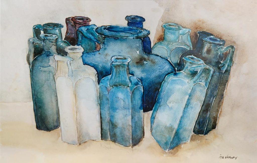 Blauwe flessen - aquarel