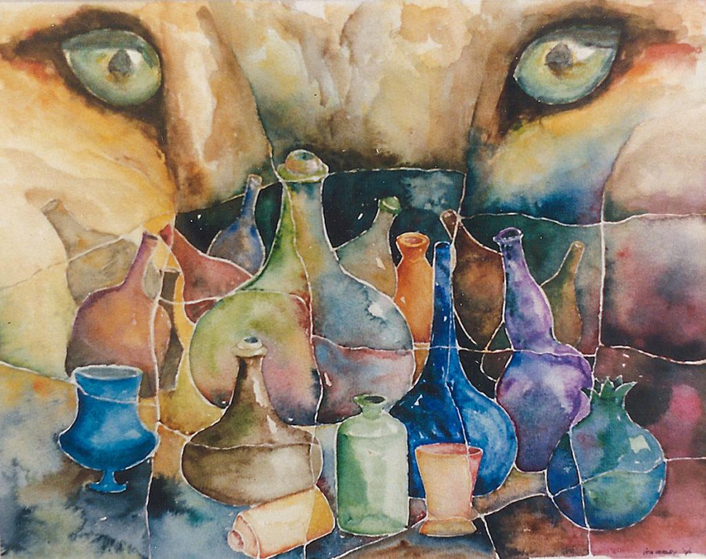 Leeuw met flessen - aquarel