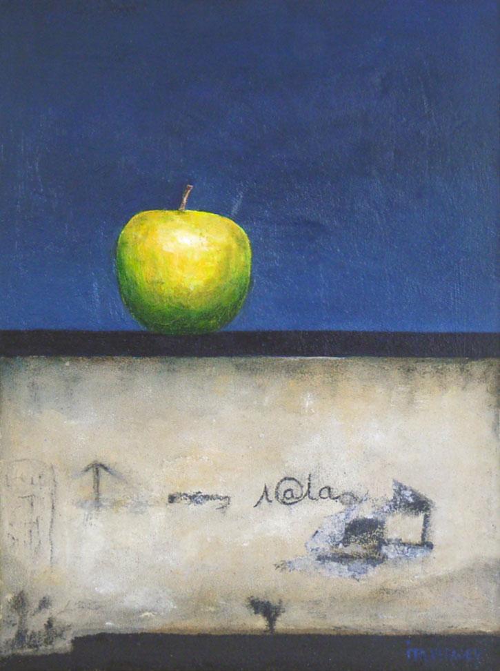 Appel op muur - Acryl op paneel