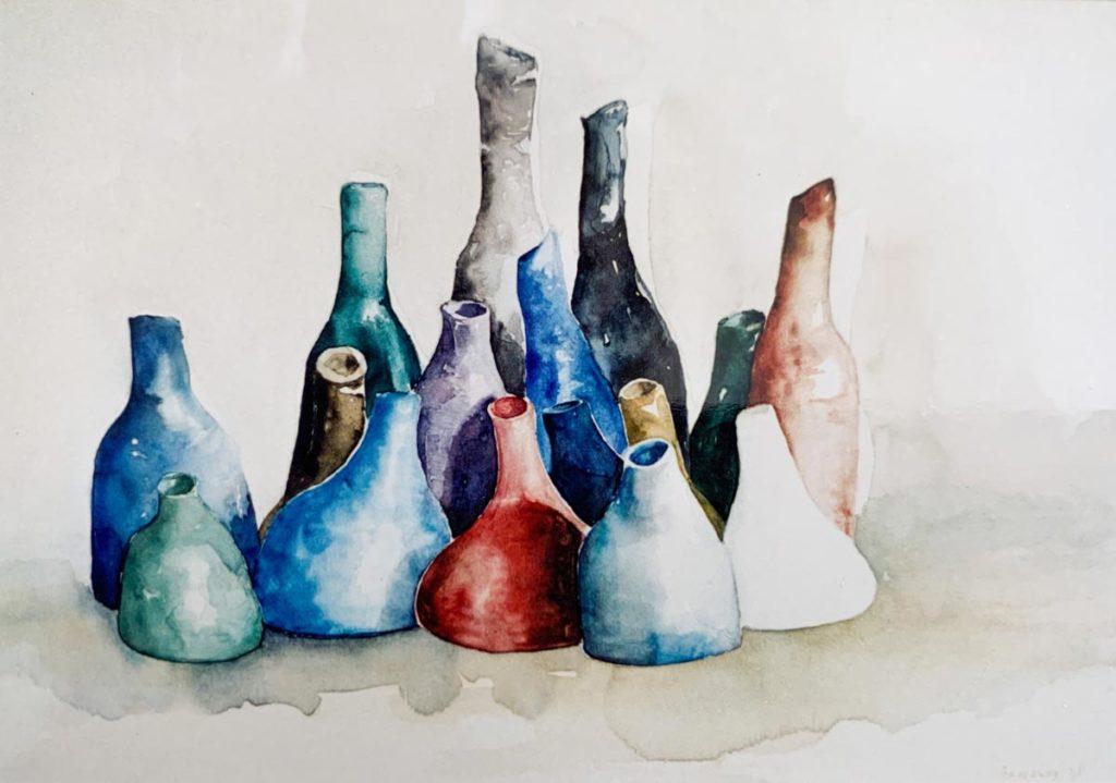 Gekleurde flessen - aquarel