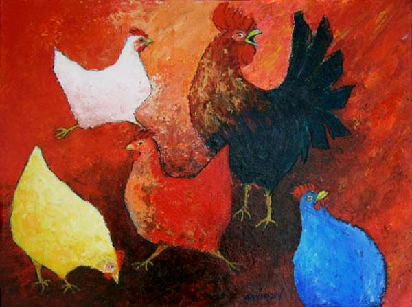 Kippetjes in het rood en een haan