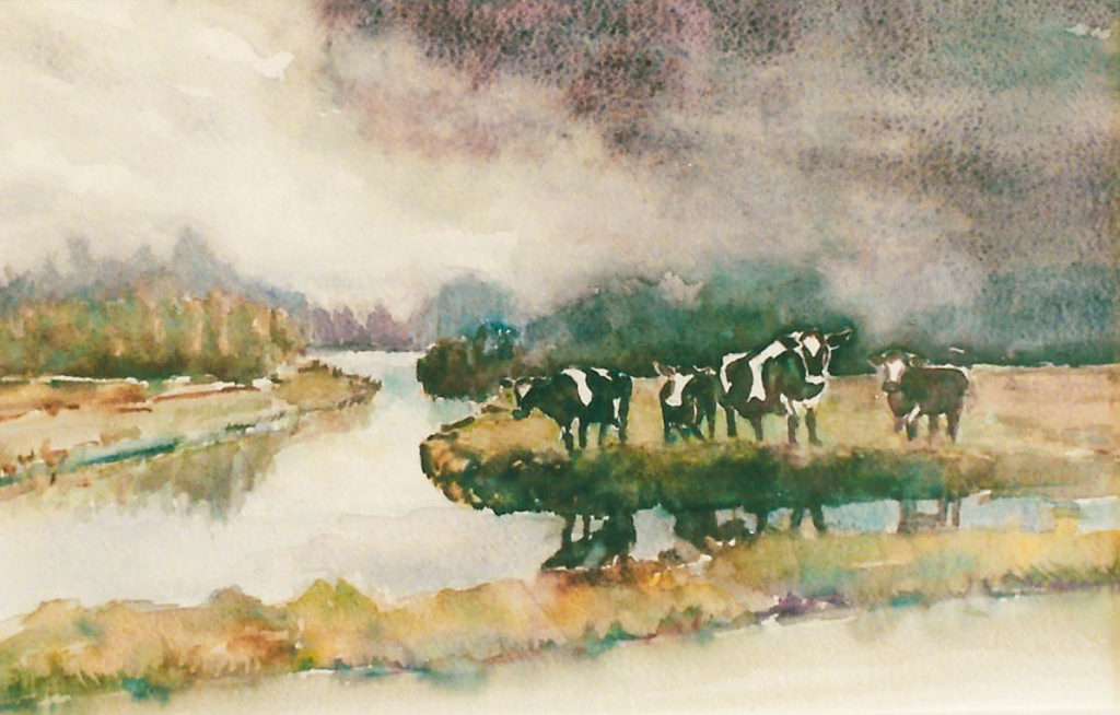 Koeien in weiland - aquarel